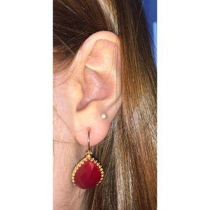 Charming Charlie Garnet & Gold Earrings